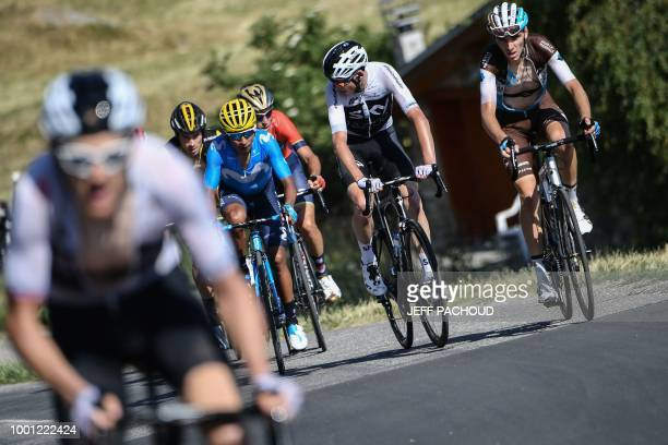 Great Britain's Geraint Thomas breaks away from France's Romain Bardet Great Britain's Christopher Froome Italy's Vincenzo Nibali Colombia's Nairo...