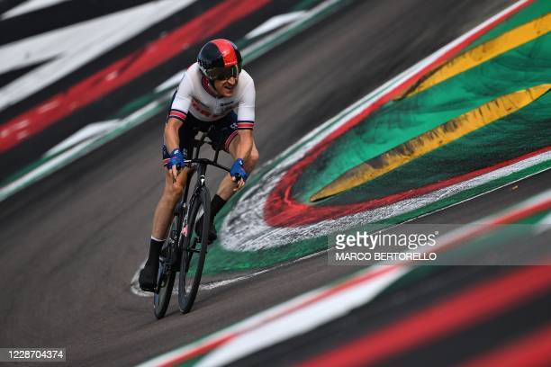 Great Britain's Geraint Thomas competes in the Men's Elite Individual Time Trial at the UCI 2020 Road World Championships in Imola, Emilia-Romagna,...