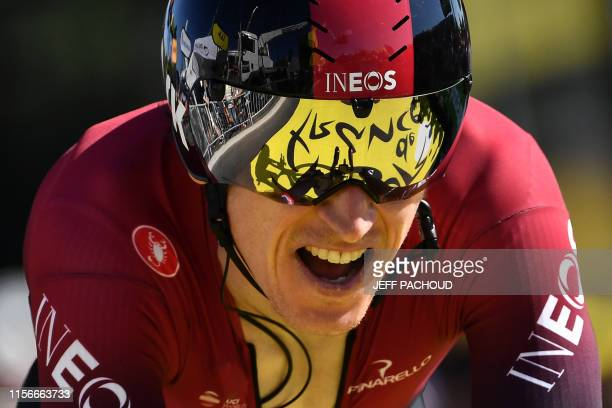 Great Britain's Geraint Thomas crosses the finish line of the thirteenth stage of the 106th edition of the Tour de France cycling race, a...