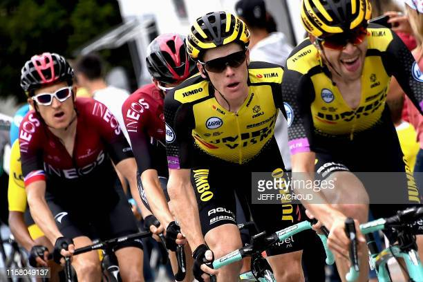 Great Britain's Geraint Thomas follows Netherlands' Steven Kruijswijk during the twentieth stage of the 106th edition of the Tour de France cycling...