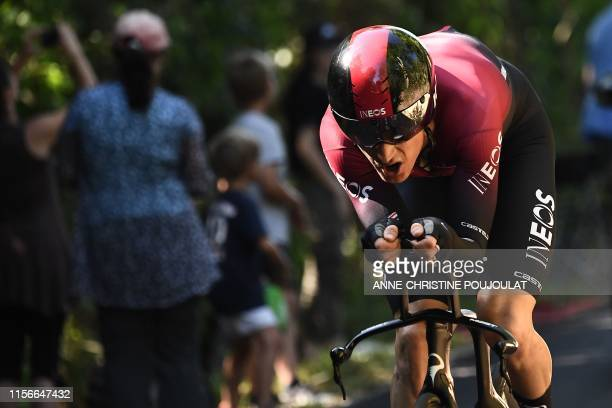 Great Britain's Geraint Thomas rides during the thirteenth stage of the 106th edition of the Tour de France cycling race, a 27,2-kilometer individual...