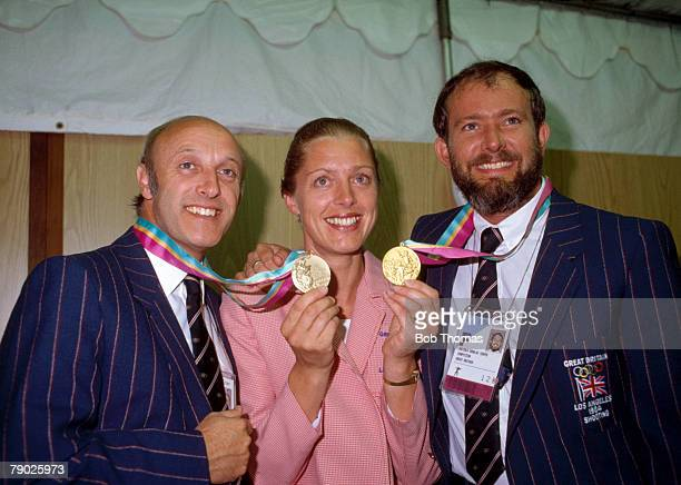 Great Britain's gold medal winner Malcolm Cooper pictured right with his wife Sarah and fellow Great Britain sport shooter Alister Allen who took...