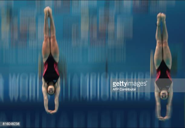Great Britain's Grace Reid and Great Britain's Katherine Torrance compete in the women's 3m springboard synchro final during the diving competition...