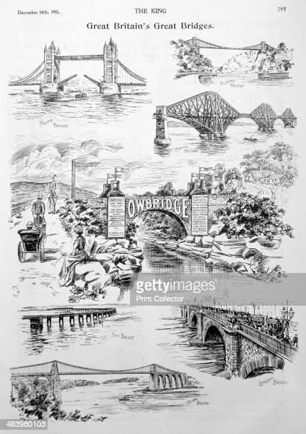 'Great Britain's Great Bridges' advert for Owbridge Lung Tonic 1901 Tower Bridge the Clifton Suspension Bridge the Forth Bridge the Tay Bridge London...