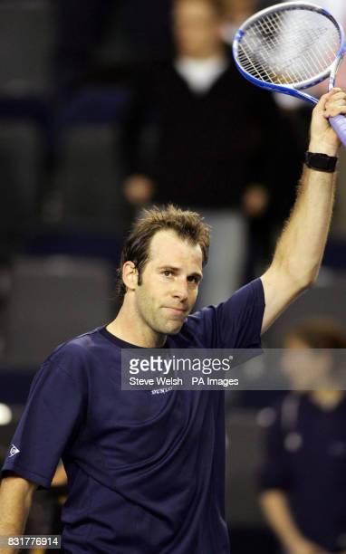 Great Britain's Greg Rusedski celebrates after the 63 67 75 75 victory over Serbia Montenegro's Janko Tipsarevic in the Davis Cup match at the...