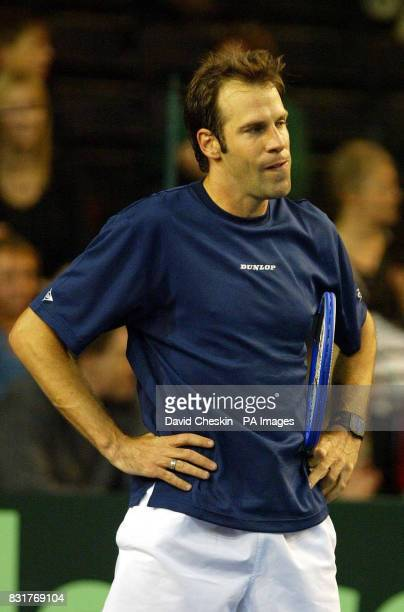 Great Britain's Greg Rusedski looks dejected after losing his match against Novak Djokovic in the Davis Cup tennis match against Serbia and...