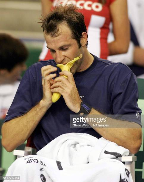 Great Britain's Greg Rusedski takes a break during his match against Serbia Montenegro's Janko Tipsarevic during the first day of the Davis Cup at...