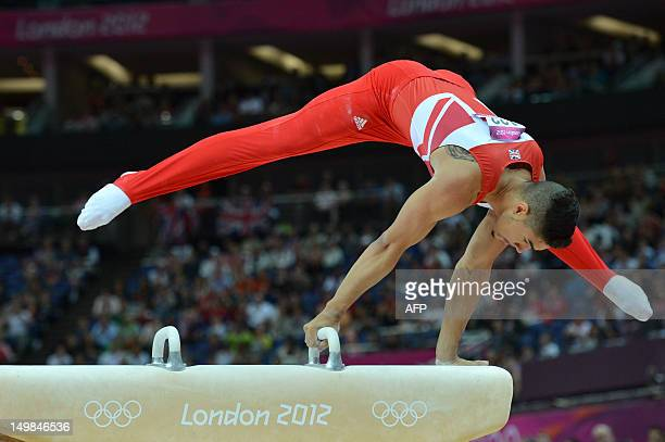 Great Britain's gymnast Louis Smith competes during the men's pommel horse final of the artistic gymnastics event of the London Olympic Games on...