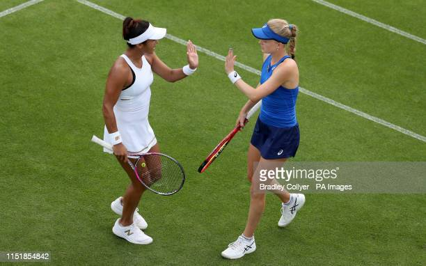 Great Britain's Harriet Dart and Heather Watson against Nicole Melichar and Kveta Peschke during day three of the Nature Valley International at...