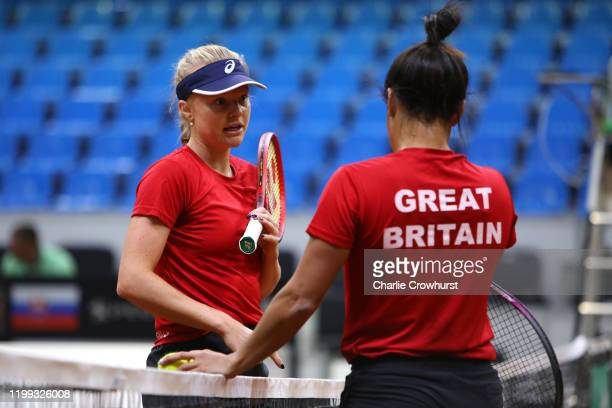 Great Britain's Harriet Dart and Heather Watson chat during a practice session ahead of the Fed Cup Qualifier match between Slovakia and Great...