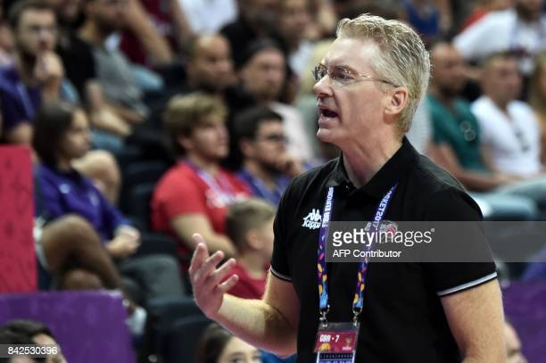 Great Britain's head coach Joe Prunty gestures during FIBA Eurobasket 2017 men's group D basketball match between Latvia and Great Britain at...