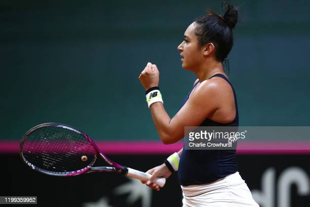 Great Britain's Heather Watson celebrates winning a game during her singles match against Rebecca Sramkova of Slovakia during the Fed Cup Qualifier...