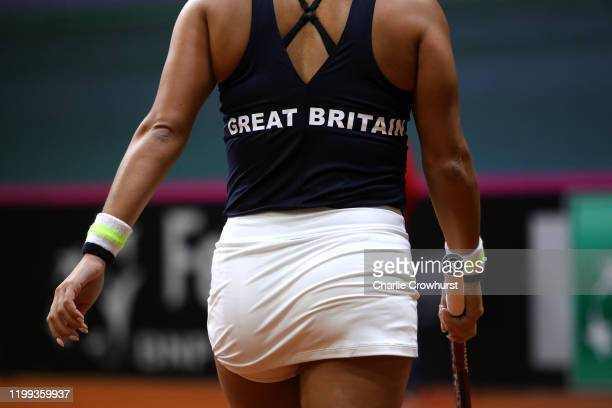 Great Britain's Heather Watson in action during her singles match against Rebecca Sramkova of Slovakia during the Fed Cup Qualifier match between...