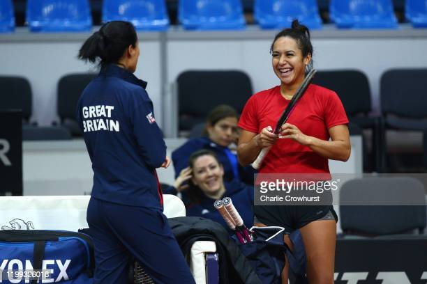 Great Britain's Heather Watson laughs during a practice session ahead of the Fed Cup Qualifier match between Slovakia and Great Britain at AXA Arena...