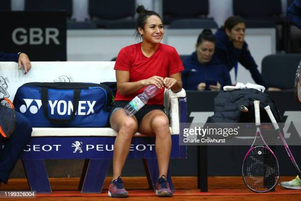 Great Britain's Heather Watson looks on during a practice session ahead of the Fed Cup Qualifier match between Slovakia and Great Britain at AXA...