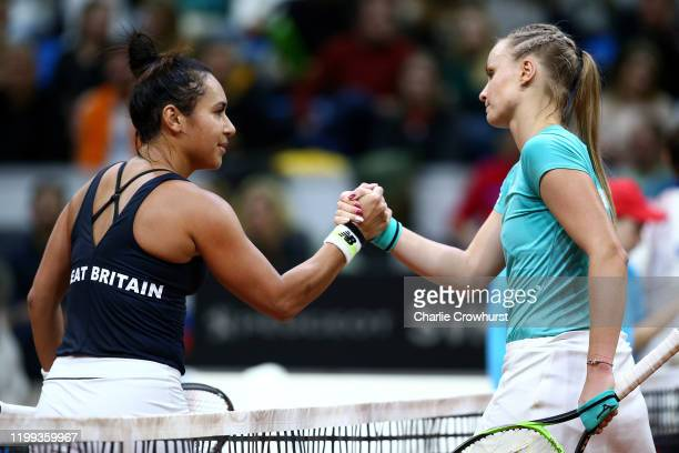 Great Britain's Heather Watson shakes the hand of Rebecca Sramkova of Slovakia after she wins her womens singles match during the Fed Cup Qualifier...