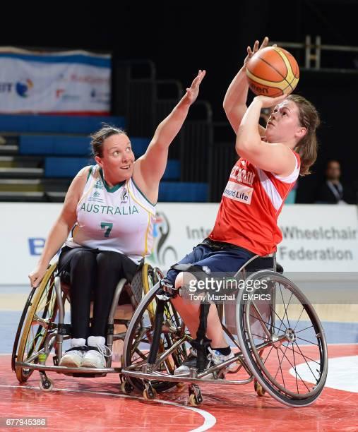 Great Britain's Helen Freeman in action against Australia's Amanda Carter during their wheelchair basketball game