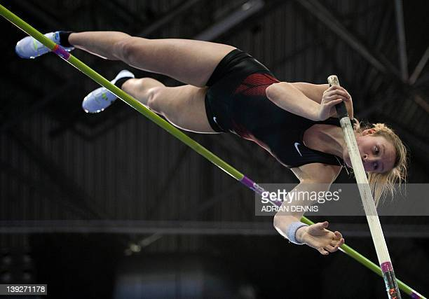Great Britain's Holly Bleasdale competes during the Women's Pole Vault during the Aviva Grand Prix athletics meeting at The National Indoor Arena in...