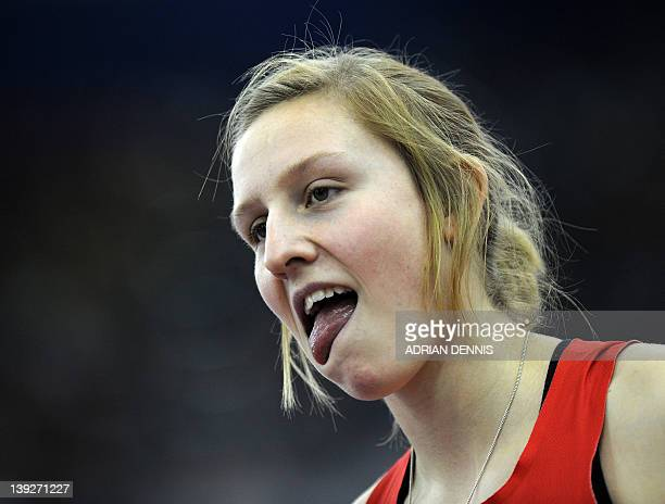 Great Britain's Holly Bleasdale gestures after failing a jump during the Women's Pole Vault during the Aviva Grand Prix athletics meeting at The...