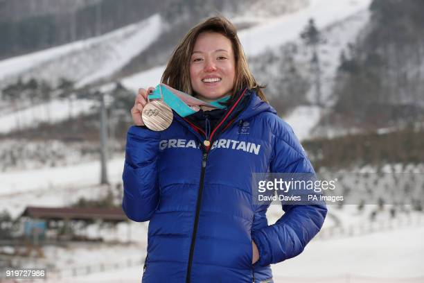 Great Britain's Isabel Atkin with her bronze medal for the Women's Ski Slopestyle event during a photocall on day nine of the PyeongChang 2018 Winter...