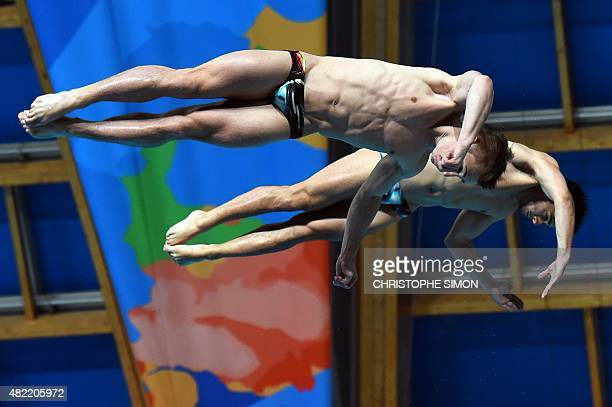 Great Britain's Jack David Laugher and Chris Mears compete in the Men's 3m Springboard Synchronised final diving event at the 2015 FINA World...