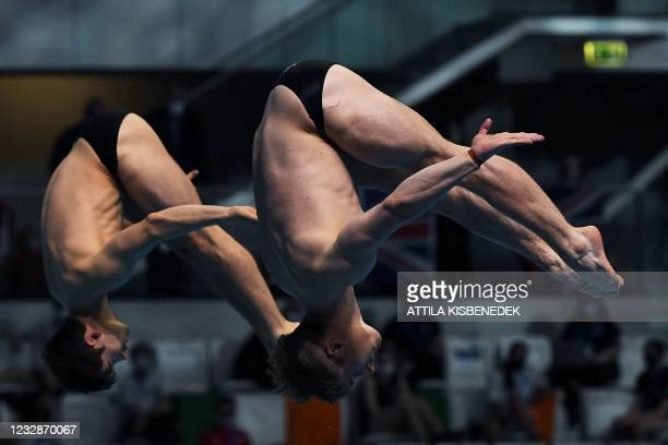 Great Britain's Jack Laugher and Great Britain's Daniel Goodfellow compete in the Men's Synchronised 3m Springboard Diving event during the LEN...