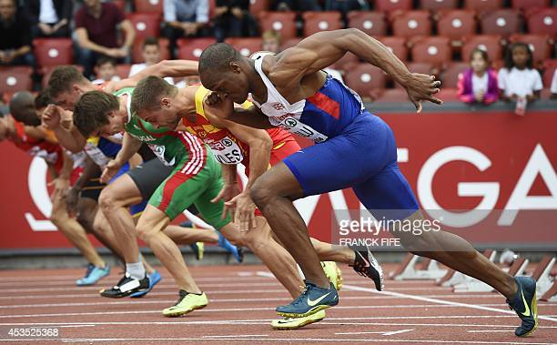 Great Britain's James Dasaolu competes in the Men's100m heats during the European Athletics Championships at the Letzigrund stadium in Zurich on...