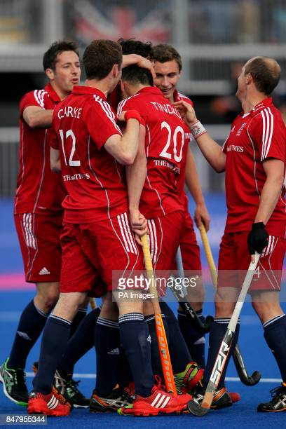 Great Britain's James Tindall celebrates his goal against Australia during the Visa International Invitational Hockey Tournament at the Riverbank...