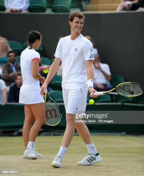 Great Britain's Jamie Murray in his mixed doubles match with Australia's Jarmila Gajdosova against India's Rohan Bopanna and Sania Mirza during day...