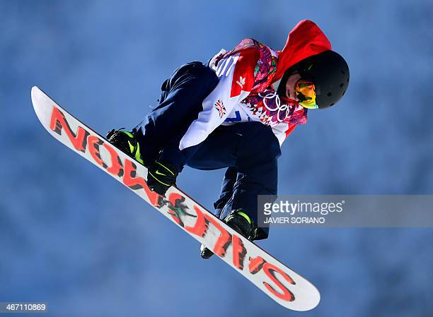 Great Britain's Jamie Nicholls competes in the Men's Snowboard Slopestyle qualification at the Rosa Khutor Extreme Park during the Sochi Winter...