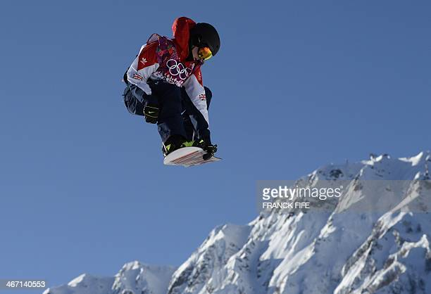 Great Britain's Jamie Nicholls competes in the Men's Snowboard Slopestyle first heat qualification at the Rosa Khutor Extreme Park during the Sochi...