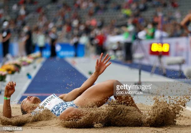 Great Britain's Jazmin Sawyers competes during the women's long jump event of the ISTAF international athletics meeting at the Olympic Stadium in...