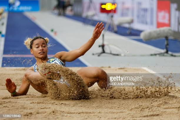 Great Britain's Jazmin Sawyers competes in the women's long jump event of the ISTAF international athletics meeting at the Olympic Stadium in Berlin,...