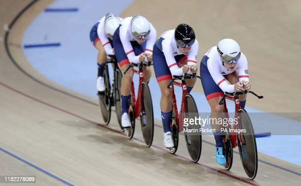 Great Britain's Jenny Holl Jessica Roberts Josie Knight and Megan Barker on their way to finishing 2nd in the Women's Team Pursuit qualification...