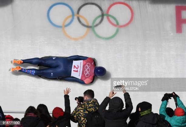 TOPSHOT Great Britain's Jerry Rice competes in the mens's skeleton heat 3 run during the Pyeongchang 2018 Winter Olympic Games at the Olympic Sliding...