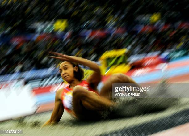 Great Britain's Jess Ennis competes during the Women's Long Jump event at the Aviva Grand Prix athletics meeting in the National Indoor Arena in...