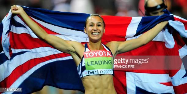 Great Britain's Jessica Ennis celebrates after winning the women's heptathlon of the 2009 IAAF Athletics World Championships on August 16 2009 in...