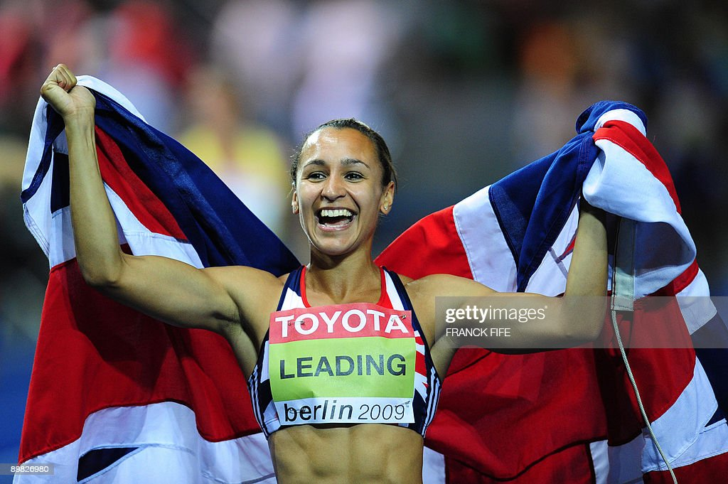 Great Britain's Jessica Ennis celebrates after winning the women's heptathlon of the 2009 IAAF Athletics World Championships on August 16, 2009 in Berlin.
