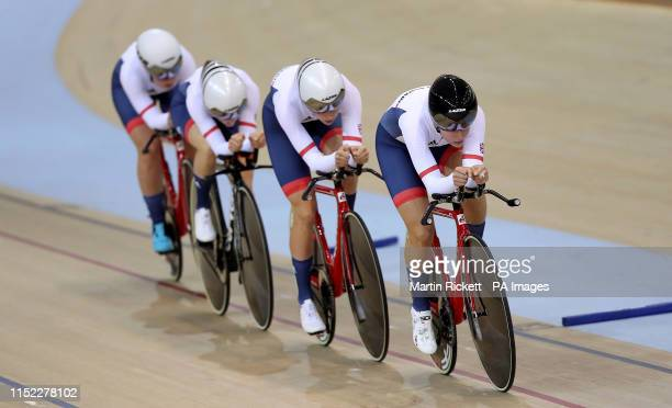 Great Britain's Jessica Roberts Josie Knight Megan Barker and Jenny Holl on their way to finishing 2nd in the Women's Team Pursuit qualification...