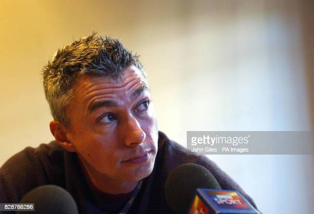 Great Britain's Jonathan Edwards announces his retirement from competition at a press conference in Paris Friday August 22 2003 The 37yearold Olympic...