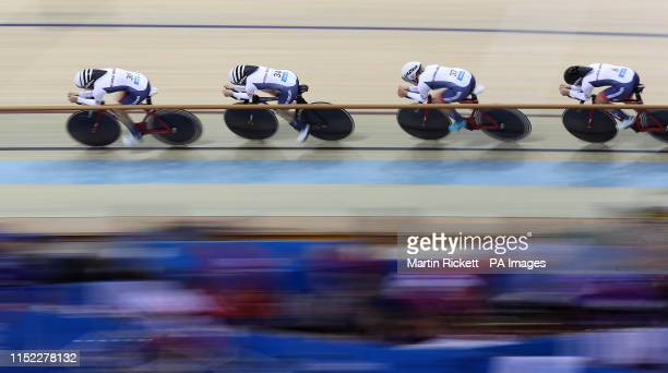 Great Britain's Josie Knight Megan Barker and Jenny Holl and Jessica Roberts on their way to finishing 2nd in the Women's Team Pursuit qualification...