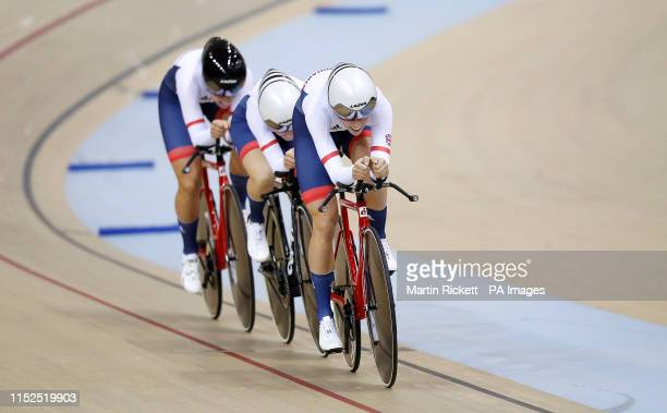 Great Britain's Josie Knight Megan Barker and Jessica Roberts on their way to taking the silver medal in the Women's Team Pursuit at the Minsk...