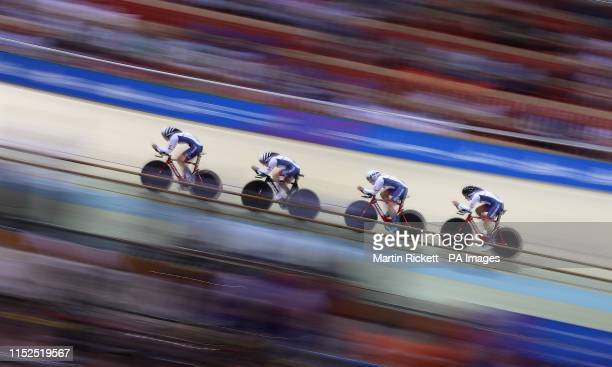 Great Britain's Josie Knight Megan Barker Jenny Holl and Jessica Roberts on their way to taking the silver medal in the Women's Team Pursuit at the...