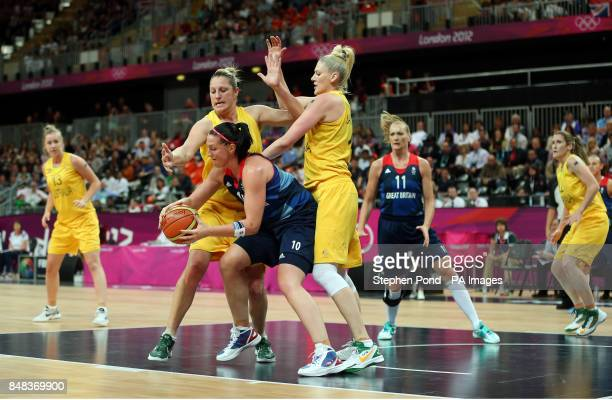 Great Britain's Julia Page in action against Australia's Lauren Jackson and Suzy Batkovic during their group B preliminary round match at the...