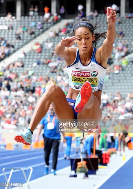 Great Britain's Katarina JohnsonThompson competes in the Women's Heptathlon Long Jump during day four of the 2018 European Athletics Championships at...