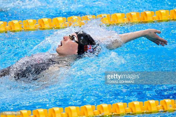 Great Britain's Kathleen Dawson competes in the final of the Womens 100m Backstroke Swimming event after the first final was cancelled due to...