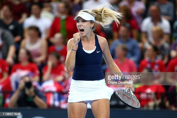 Great Britain's Katie Boulter celebrates winning a set during her second singles match against Zarina Diyas of Kazakhstan during the Fed Cup World...