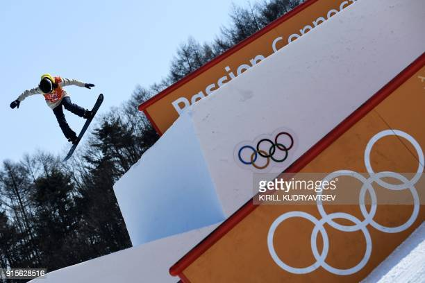 Great Britain's Katie Ormerod takes part in a snowboard slopestyle training session on February 8 2018 at the Phoenix Park on the eve of the opening...