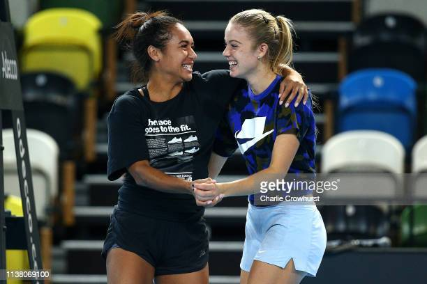 Great Britain's Katie Swan and Heather Watson in action during a training session prior to the Fed Cup World Group II PlayOff match between Great...