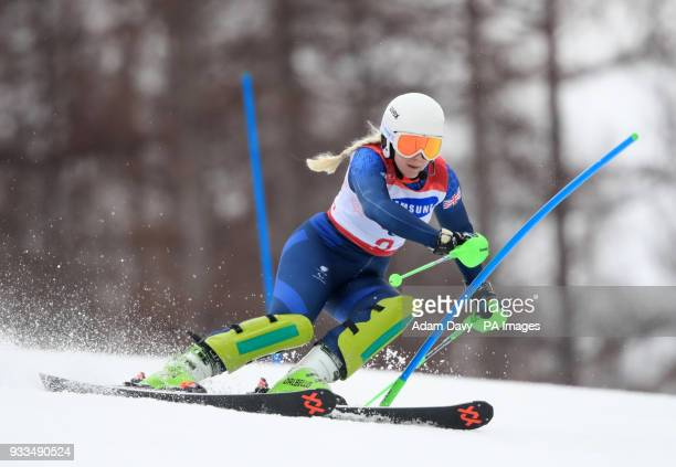 Great Britain's Kelly Gallagher competes in the Women's Slalom Visually Impaired at the Jeongseon Alpine Centre during day nine of the PyeongChang...